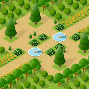 Isometric 3d trees park forest camping nature elements for landscape