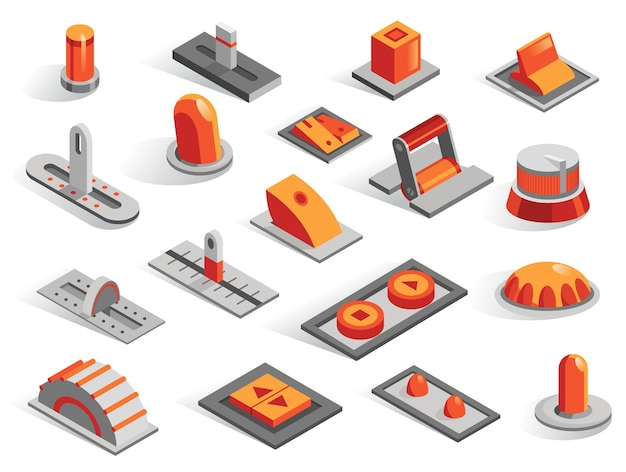 Isometric or 3d various buttons vector set. isolated icons collection in different from. levers sliders regulators toggle regulators and switches in gray and orange color.