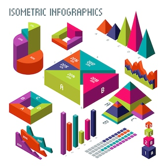 Isometric 3d vector diagrams and graphs for your information infographic and business presentation