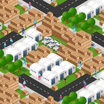 アイソメトリック3dギャラリーモジュール工業都市工場