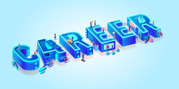 Isometric 3d word career.