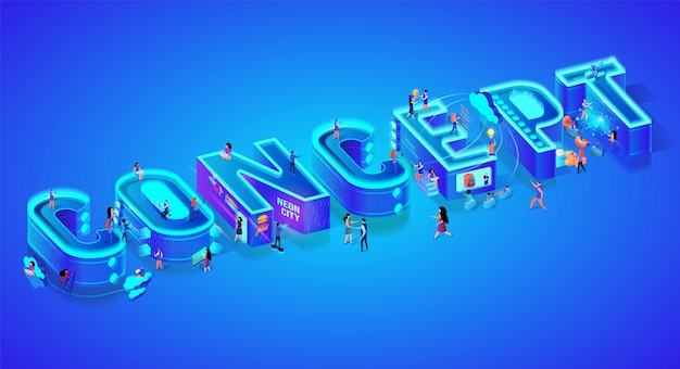 Isometric 3d word concept