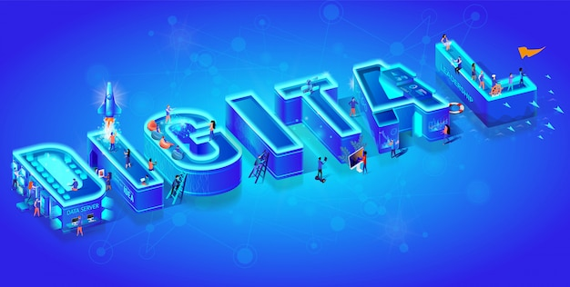 Isometric 3d word digital