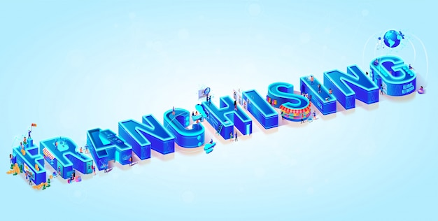Isometric 3d word franchising