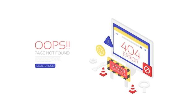 Isometric 404 error landing page