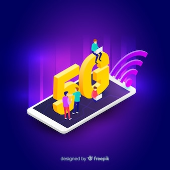 Isometric 5g concept background on a mobile phone