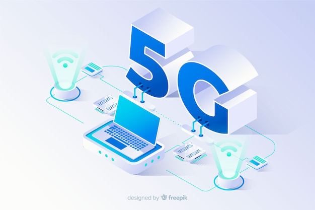 Isometric 5g concept background with technological devices