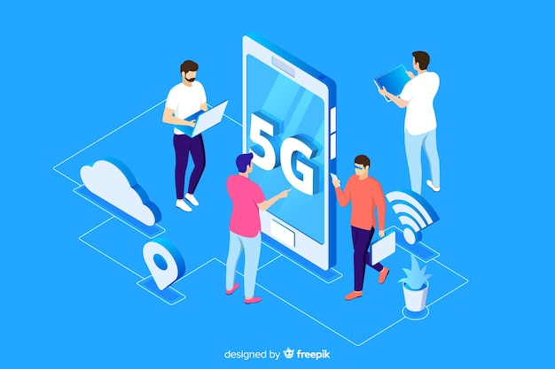 Isometric 5g concept with blue background