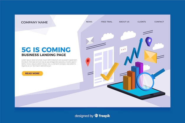Isometric 5g landing page template