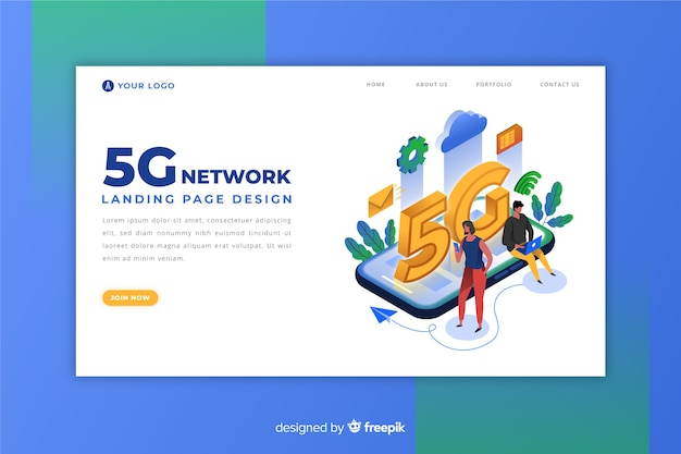 Isometric 5g landing page