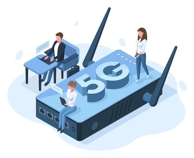 アイソメトリック5gモバイルインターネットネットワーク接続の概念。オフィスの人々は、高速インターネット接続のベクトル図で動作します。ネットワーク5g接続テクノロジー