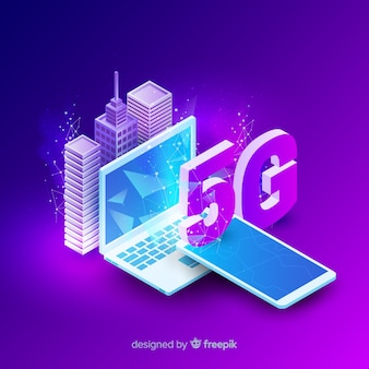 Isometric 5g network concept background