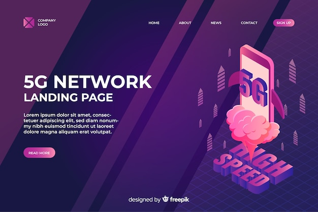 Isometric 5g network landing page