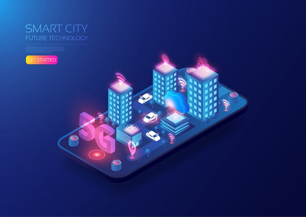 Isometric 5g smart city