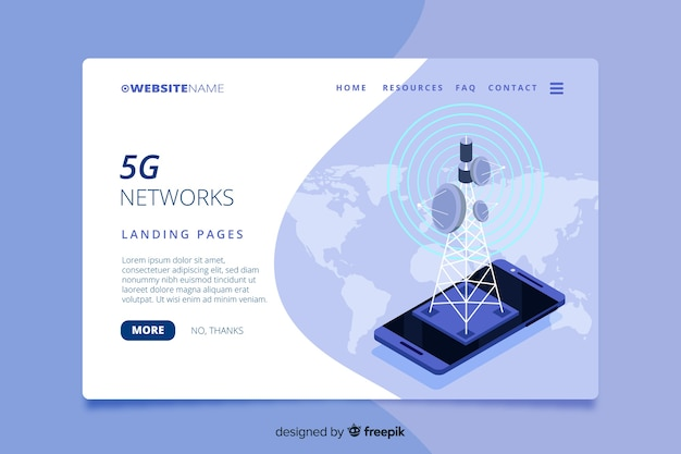 Isometric 5g technology landing page