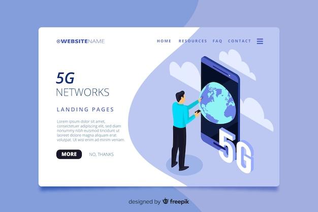 Isometric 5g technology landing page