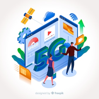 Isometric 5g with people and buildings