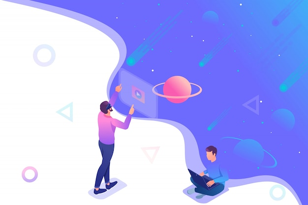 Изометрические юноша управляет виртуальной реальностью с помощью виртуальных очков, подросток бегает на ноутбуке.