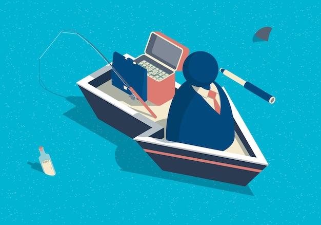 Изометрические абстрактные бизнесмены с телескопом на лодке