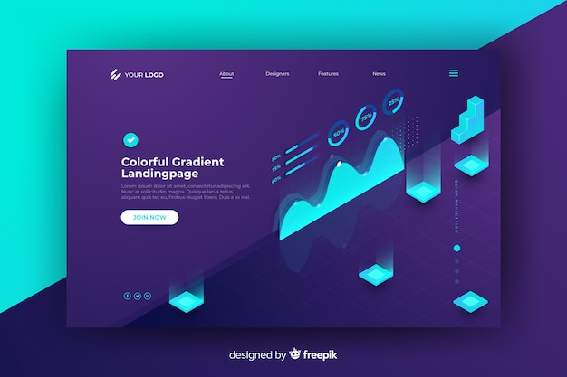 Isometric abstract landing page