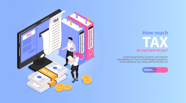Isometric accounting horizontal banner with slider button editable text and male accountant characters near desktop computer vector illustration