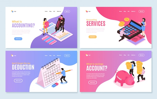Isometric accounting horizontal banners collection with four isolated compositions editable text with clickable links and buttons vector illustration