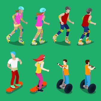 Isometric active sporty people on roller-skates