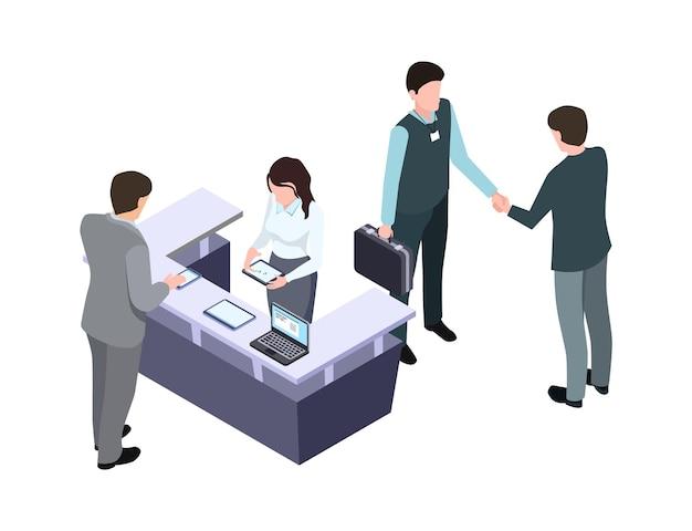 等尺性管理者。女性は男性と話します。ビジネスミーティングと握手。会議やサラリーマンの人々はイラストをベクトルします。受付漫画、プロのコミュニケーションレセプション