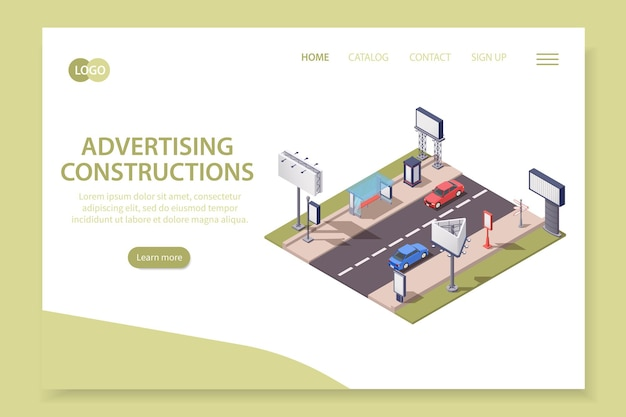 Isometric advertising constructions landing page template