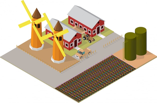 Isometric agricultural buildings with flower gardens, windmill