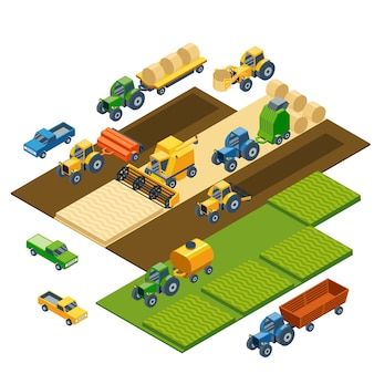 Isometric agricultural equipment, farm tractors, combain, trailers and pickup. transportation pickup, field nature landscape, harvest and grain, lawn and wheat.