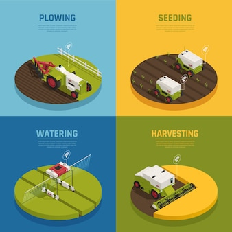 Isometric agriculture automation banner collection