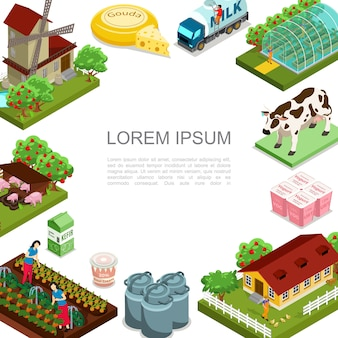 Isometric agriculture and farming template with windmill animals dairy products house apple trees milk truck women harvesting vegetables