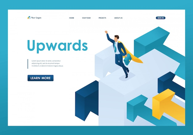Isometric aiming for the top, a businessman flies on large arrows landing page