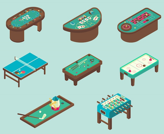 Isometric of air hockey, pool, football, minigolf, ping pong tables