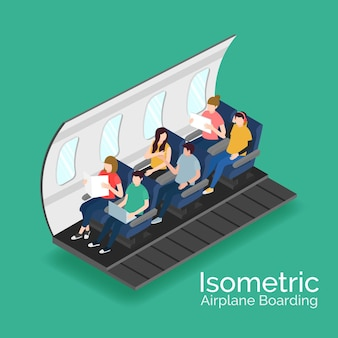 Isometric airplane boarding concept
