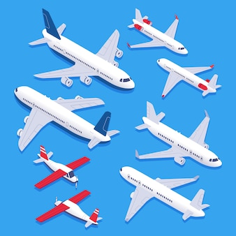 Isometric airplanes. passenger jet airplane, private aircraft and airline plane. aviation planes 3d isolated   set