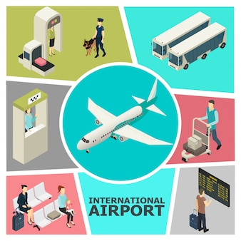 Isometric airport colorful template with custom control check-in desk passengers in waiting hall buses departure board airplane