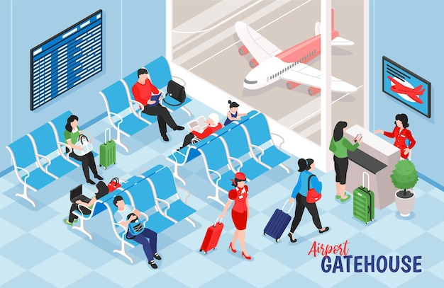 Isometric airport composition with indoor view of lounge illustration