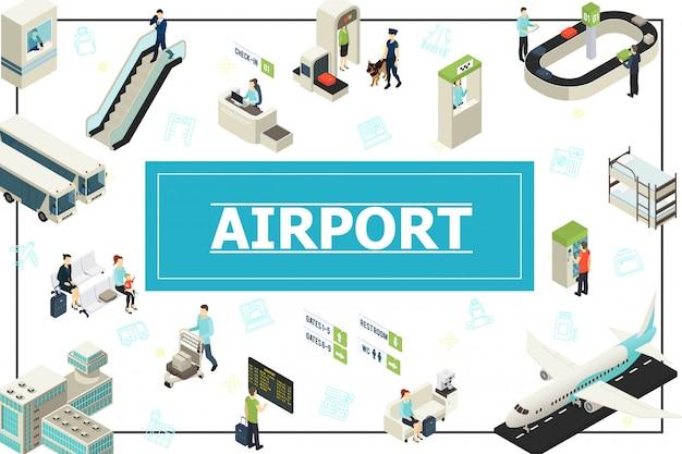 Изометрическая композиция аэропорта с пассажирами. полицейский. стойка регистрации. контроль безопасности. автобус. вылет. самолет. эскалатор. багажный конвейер.