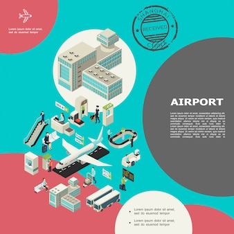 Isometric airport elements composition with building escalator passengers baggage conveyor belt buses airplanes check-in desk custom control waiting hall visa stamp Premium Vector