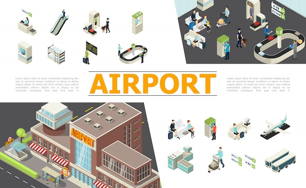 Изометрические элементы аэропорта, установленные со стойкой регистрации, эскалатор, таможенный паспортный контроль, табло вылета, зал ожидания, ленточный транспортер, самолеты, пассажиры, рабочие