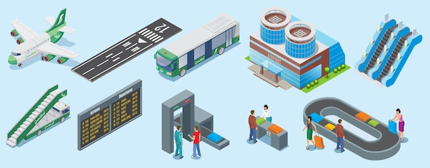 Isometric airport elements set