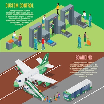 Isometric airport horizontal banners with security gates control and airplane boarding process