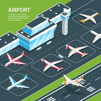 Isometric airport illustration with editable text and airport terminal building and aircrafts on flight strip