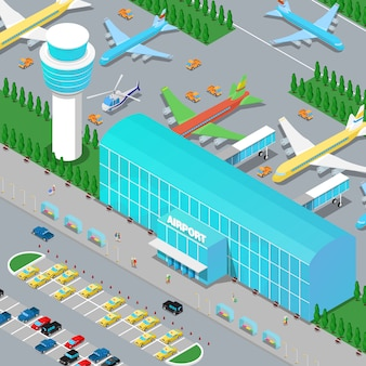 Isometric airport infrastructure with planes helicopter runway and parking area.