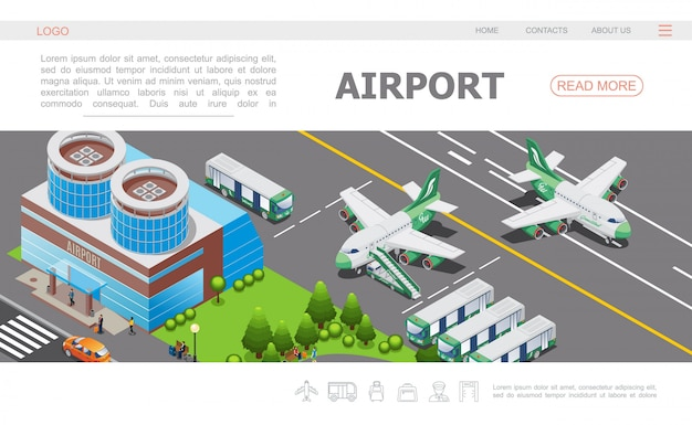 Isometric airport landing page template with building airplane on runway buses passengers