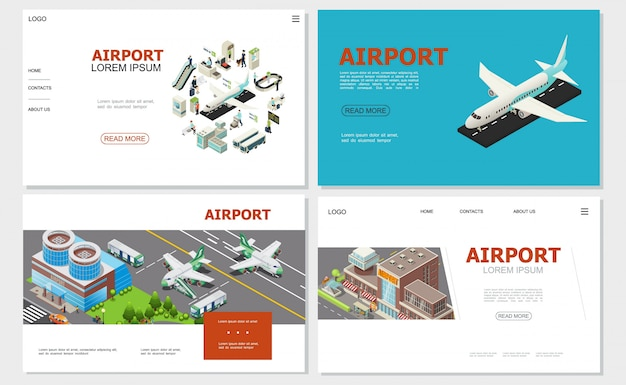 Isometric airport websites collection with airplane buildings airlines custom and passport controls check-in desk buses passengers escalator baggage conveyor belt