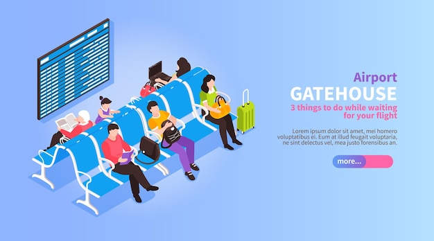 Isometric airport with view of passengers waiting for departure illustration