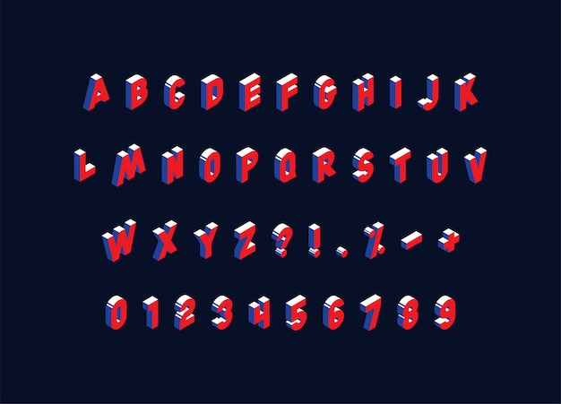 Isometric alphabet on dark background